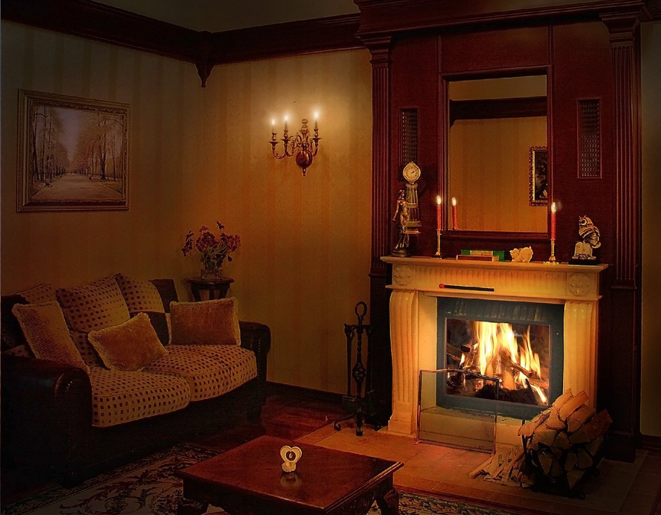 Картинка комната с камином